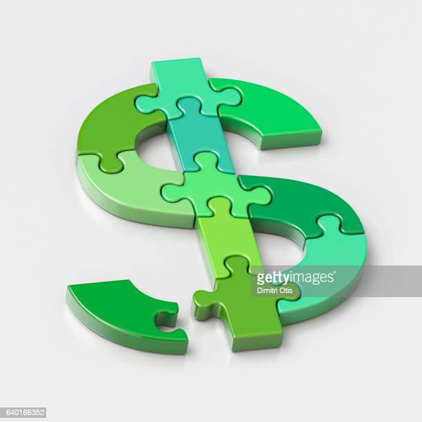 Dollar symbol jigsaw puzzle, one piece out of place