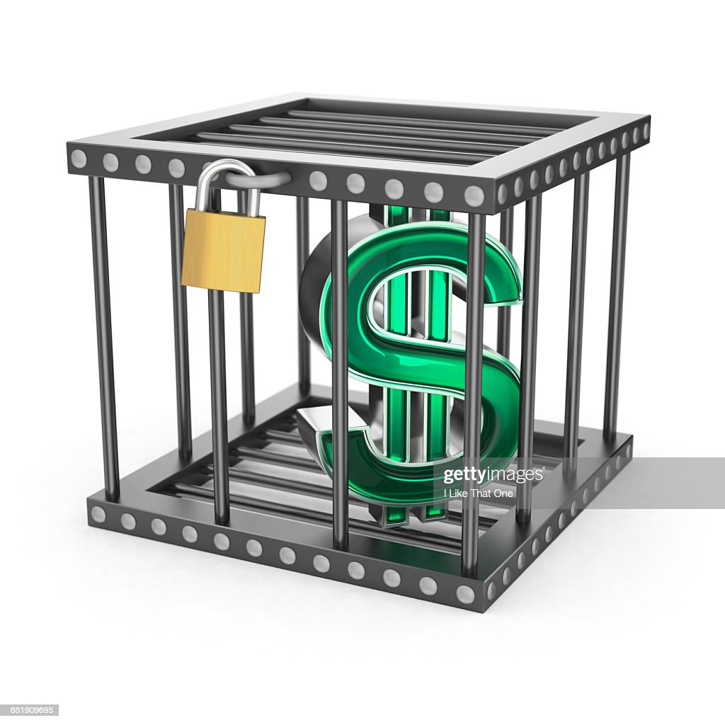 Dollar Symbol locked in a steel cage : Stock Photo