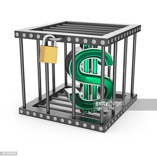 dollar symbol locked in a steel cage - atomic imagery stock pictures, royalty-free photos & images