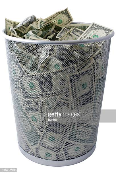 US dollar USD $ trash - US economy trashcan concept