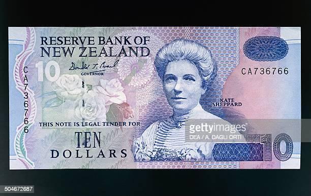 10 dollars banknote 18501950 obverse depicting Katherine Wilson Sheppard New Zealand 20th century
