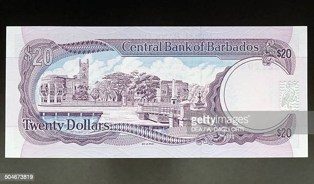 2 dollars banknote 19701979 reverse Trafalgar Square in Bridgetown Barbados 20th century