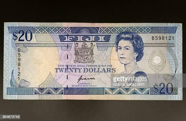 20 dollars banknote 19801989 obverse depicting Elizabeth II Fiji 20th century