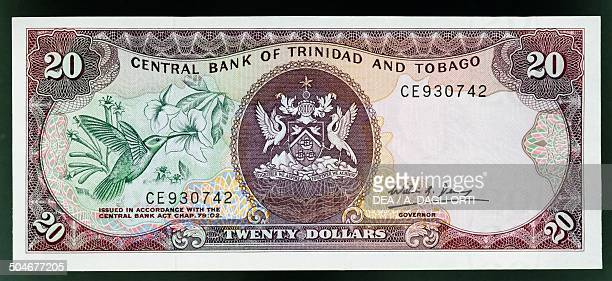 20 dollars banknote 19801989 obverse hummingbird and coat of arms Trinidad and Tobago 20th century