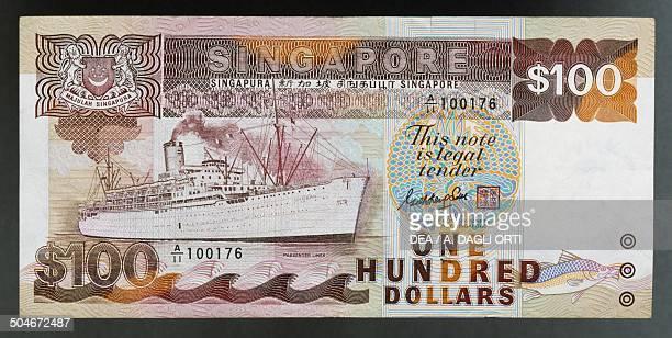 100 dollars banknote 19801989 obverse Singapore 20th century