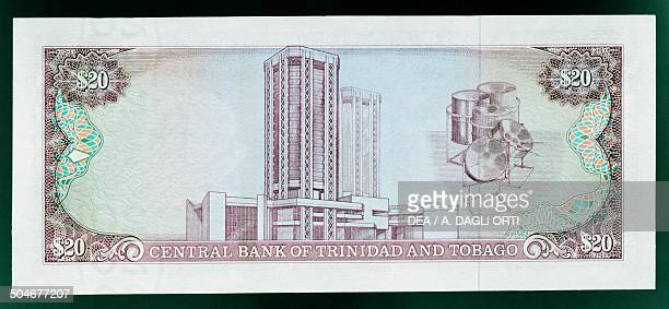 20 dollars banknote 19801989 reverse Central Bank building in Port of Spain and percussion instruments Trinidad and Tobago 20th century