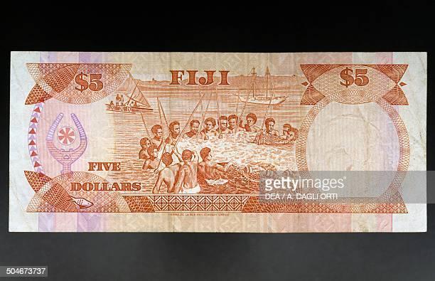 5 dollars banknote 19801989 reverse dipicting a fishermen Fiji 20th century