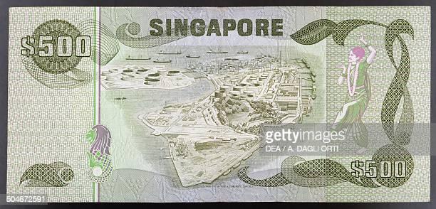 500 dollars banknote 19801989 reverse port Singapore 20th century