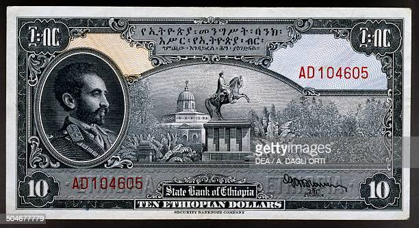 10 dollars banknote obverse depicting king Haile Selassie Ethiopia 20th century