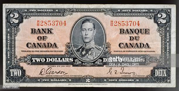 2 dollars banknote obverse King Giorgio VI Canada 20th century