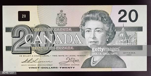 20 dollars banknote obverse queen Elizabeth II Canada 20th century