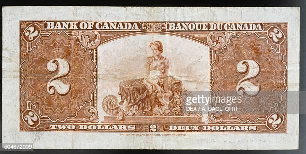 2 dollars banknote reverse female figure Canada 20th century