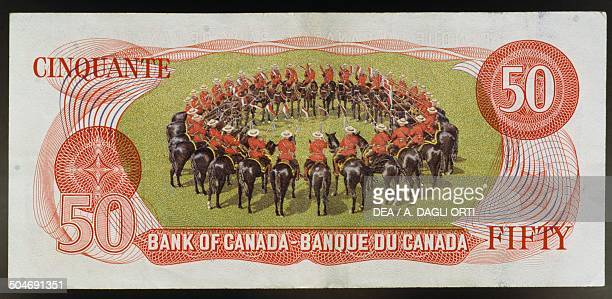 50 dollars banknote reverse NorthWest Mounted Police in circular formation Canada 20th century