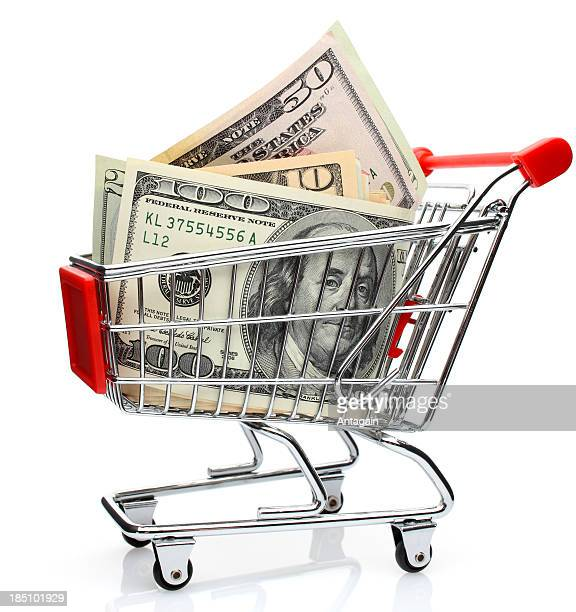 dollars in shopping cart - canadian one hundred dollar bill stock pictures, royalty-free photos & images