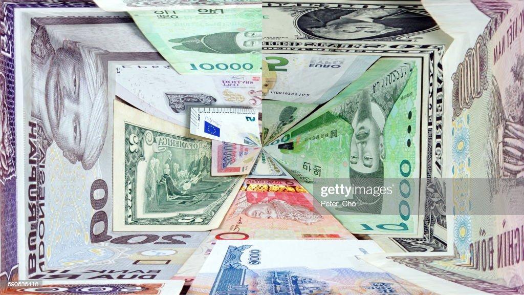 Us Dollars Korean Won Euro Bills And Some Money Banknotes