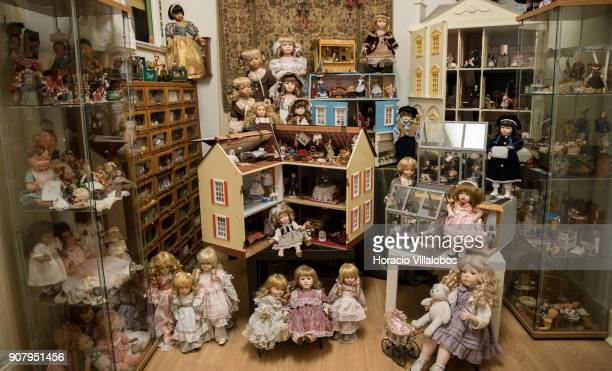 Dolls and doll houses are seen at the museum area of the 'Hospital de Bonecas' on January 18 2018 in Lisbon Portugal Started in 1830 by Dona Carlota...