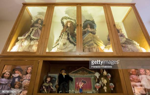 Dolls are seen at the museum area of the 'Hospital de Bonecas' on January 18 2018 in Lisbon Portugal Started in 1830 by Dona Carlota an old lady...