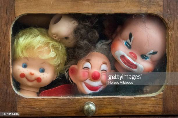 Dolls' heads seen at the 'Hospital de Bonecas' operating room on January 18 2018 in Lisbon Portugal Started in 1830 by Dona Carlota an old lady...