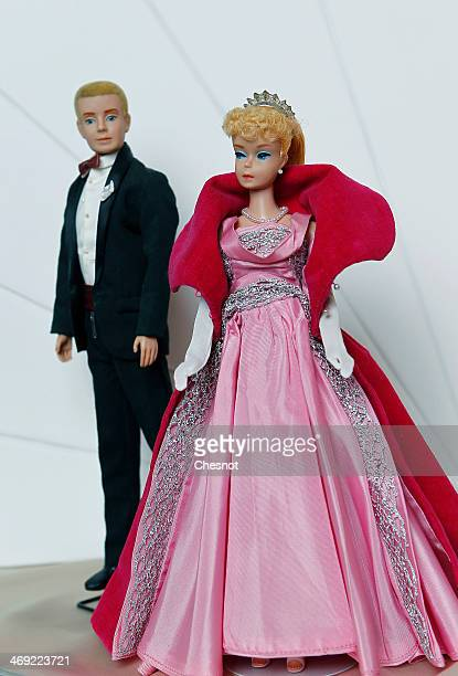 Dolls Ken and Barbie are displayed during the exhibition 'Barbie retro chic' at the 'Musee de la poupee' on February 13 in Paris France The...