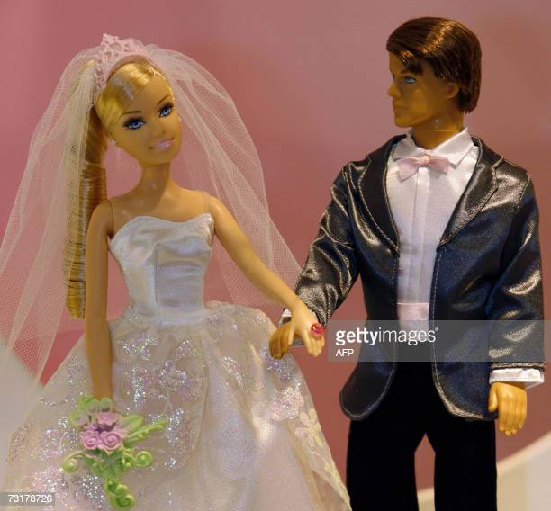 Dolls of Barbie and her friend Ken in wedding dresses are pictured 02 February 2007 at the International Toy Fair in Nuremberg southern Germany More...