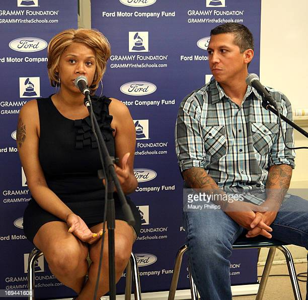 Dolly Adams and Mike Elizondo speak durng GRAMMY Camp - Basic Training at Dorsey High School on May 24, 2013 in Los Angeles, California.