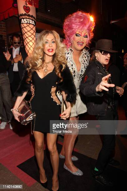 Dolly Buster Olivia Jones and Udo Lindenberg during the Olivia Jones Bunny Burlesque Party on April 2 2019 in Hamburg Germany