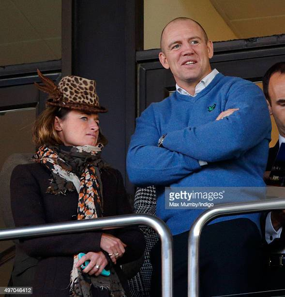 Dolly Maude and Mike Tindall watch the racing as they attend Countryside Day of The Open meeting at Cheltenham Racecourse on November 13 2015 in...