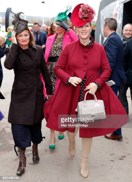 Dolly Maude and Zara Phillips attend day 2 'Ladies Day' of the Cheltenham Festival at Cheltenham Racecourse on March 14 2018 in Cheltenham England...