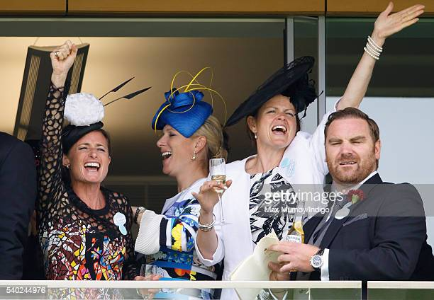 Dolly Maude and Zara Phillips watch the racing as they attend day 1 of Royal Ascot at Ascot Racecourse on June 14 2016 in Ascot England