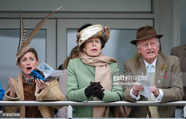 Dolly Maude Princess Anne The Princess Royal and Andrew Parker Bowles watch the racing as they attend day 4 Gold Cup Day of the Cheltenham Festival...