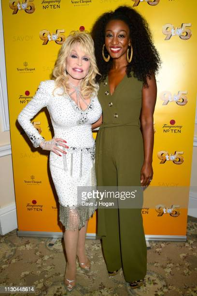 Dolly Parton and Beverley Knight attend 9 To 5 The Musical at The Savoy Theatre on February 17 2019 in London England