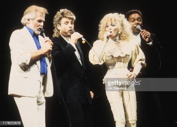 Dolly Parton and her band with Kenny Rogers perform at the Target Center in Minneapolis Minnesota on October 29 1990
