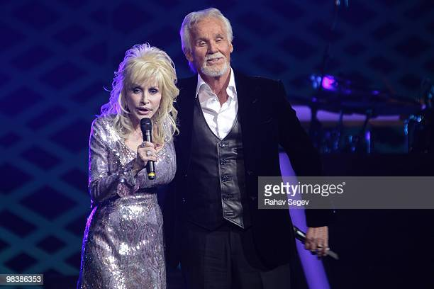 Dolly Parton and Kenny Rogers perform at Kenny Rogers The First 50 Years at The MGM Grand at Foxwoods on April 10 2010 in Ledyard Connecticut