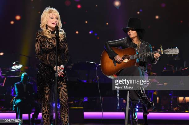 Dolly Parton and Linda Perry perform onstage MusiCares Person of the Year honoring Dolly Parton at Los Angeles Convention Center on February 8 2019...