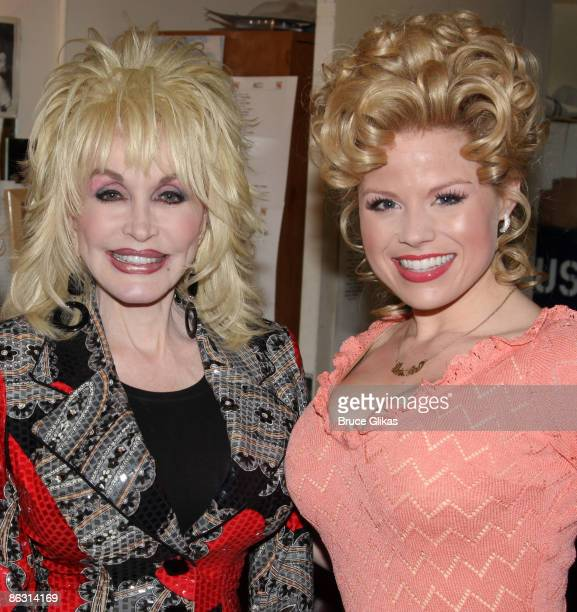 Dolly Parton and Megan Hilty pose backstage at the hit new musical 9 to 5 on Broadway at The Marquis Theatre on April 13 2009 in New York City