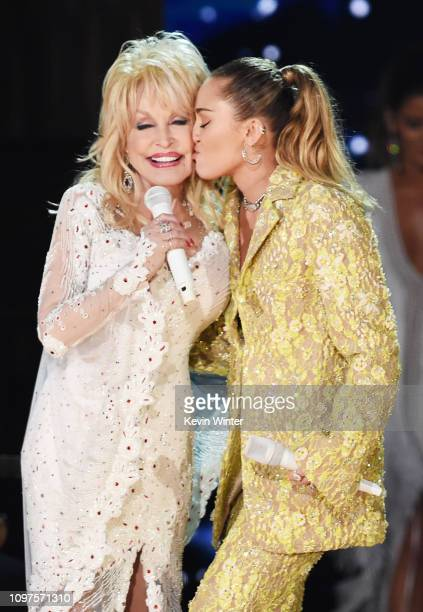 Dolly Parton and Miley Cyrus perform onstage during the 61st Annual GRAMMY Awards at Staples Center on February 10, 2019 in Los Angeles, California.