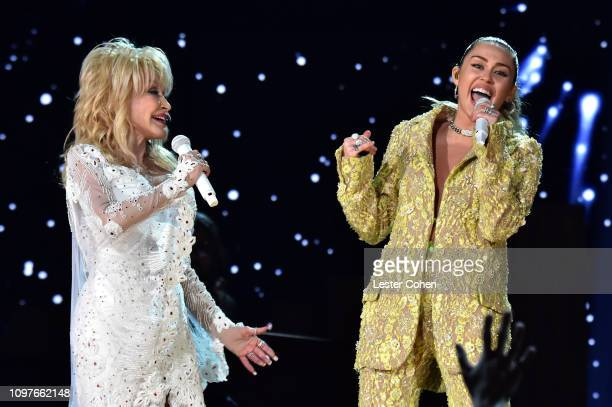 Dolly Parton and Miley Cyrus perform onstage during the 61st Annual GRAMMY Awards at Staples Center on February 10 2019 in Los Angeles California
