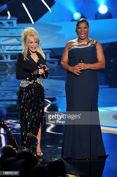 Dolly Parton and Queen Latifah perform onstage during VH1 Divas Celebrates Soul at Hammerstein Ballroom on December 18 2011 in New York City