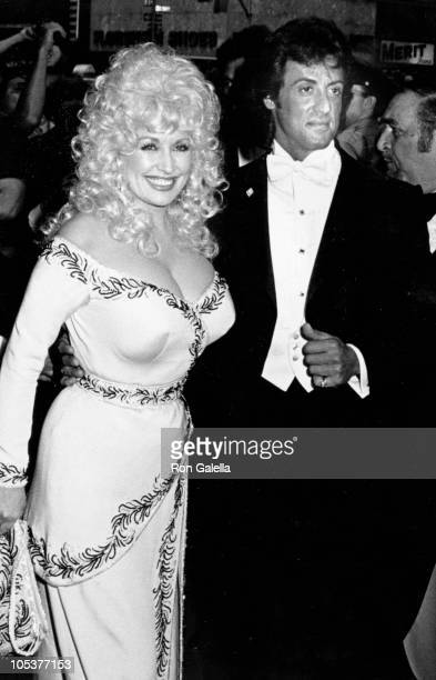 Dolly Parton and Sylvester Stallone during Rhinestone New York City Premiere at Coronet Theater in New York City NY United States
