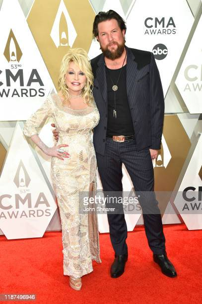 Dolly Parton and Zach Williams attends the 53rd annual CMA Awards at the Music City Center on November 13 2019 in Nashville Tennessee