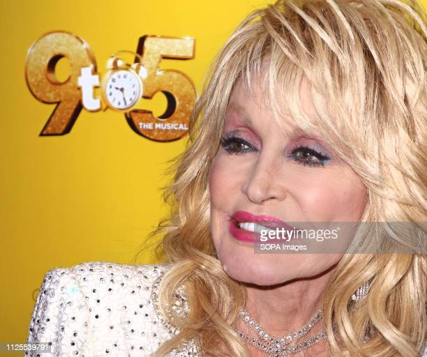 Dolly Parton arrives for the 9 to 5 the Musical Gala Night at The Savoy Theatre The Strand