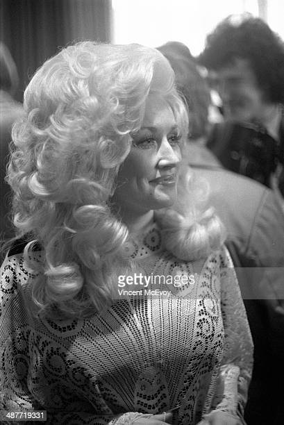 Dolly Parton at a press reception at the Hilton Hotel London 1976