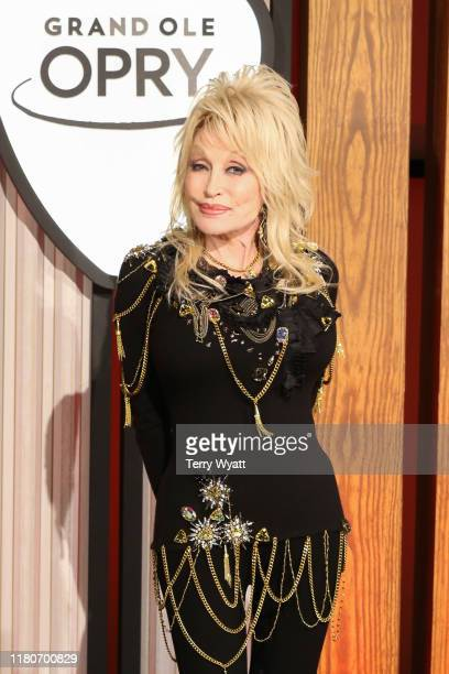 Dolly Parton attends a press conference before a performance celebrating her 50year anniversary with the Grand Ole Opry at The Grand Ole Opry on...