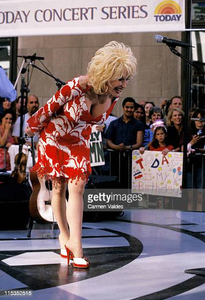 Dolly Parton during Dolly Parton Performs on The Today Show Summer Concert Series July 5 2002 at NBC Studios in New York City NY United States