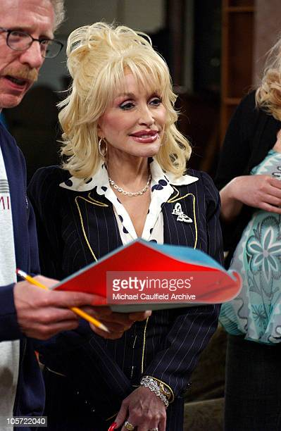 Dolly Parton during Dolly Parton Visits the Set of Reba February 15 2005 at Fox Studios in Los Angeles California United States