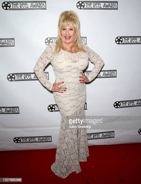 Dolly Parton impersonator Charlene Masuda attends The Reel Awards 2020 at Marilyn's Lounge inside the Eastside Cannery Casino Hotel on February 20...