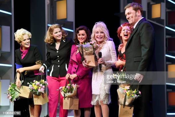 Dolly Parton joins cast members Natalie McQueen as Doralee Rhodes Caroline Sheen as Violet Newstead Amber Davies as Judy Bernly Bonnie Langford as...