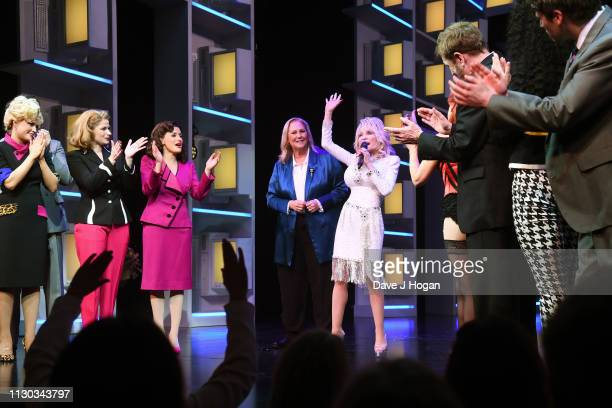 Dolly Parton joins cast members Natalie McQueen as Doralee Rhodes Caroline Sheen as Violet Newstead Amber Davies as Judy Bernly on stage during the...