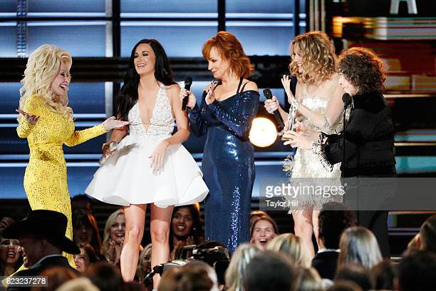 Dolly Parton Kacey Musgraves Reba McEntire Jennifer Nettles and Lily Tomlin appear onstage during the 50th annual CMA Awards at the Bridgestone Arena...