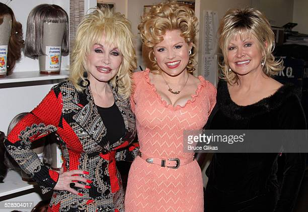 Dolly Parton Megan Hilty and Rachel Parton Dennison pose backstage at the hit new musical 9 to 5 on Broadway at The Marquis Theatre on April 13 2009...